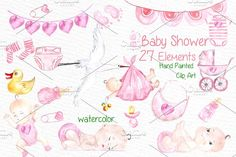 Watercolor baby shower girl clipart by vivastarkids on @creativemarket