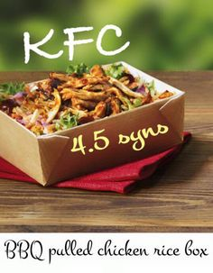 KFC Rice Box Healthy Fast Food Lunches: Slimming World Syns                                                                                                                                                                                 More