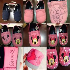 Minnie Mouse DIY shoes. Minnie Mouse. Andreamb23@yahoo.com