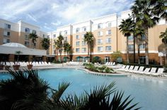 Work on a sunkissed tan at the SpringHill Suites Orlando Lake Buena Vista in Marriott Village's resort-style pool.