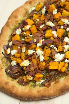 Roasted Butternut Squash Pizza with Pesto, Bacon, Goat Cheese & Balsamic Red Onions