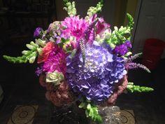 Bridal bouquet, dahlias, hydrangeas, snapdragon