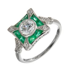 Diamond Emerald Platinum Cocktail Ring | From a unique collection of vintage fashion rings at https://www.1stdibs.com/jewelry/rings/fashion-rings/