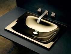 Vitraform Rectangular drop-in basin in Bronze glass with Mirror finish