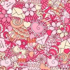 50 Wektor: Valentines day seamless background