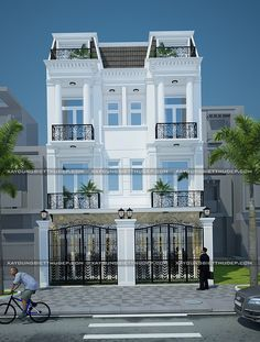 Design of a beautiful neoclassical townhouse area of 3 Storey House Design, House Front Design, Cool House Designs, Modern House Design, Classic House Exterior, Townhouse Interior, India House, House Construction Plan, House Elevation