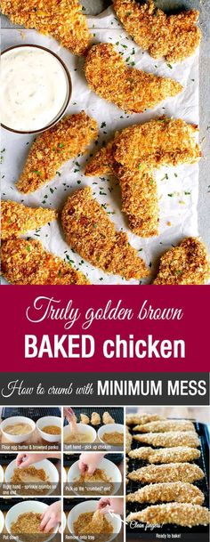 Truly Crispy Oven Baked Chicken Tenders Truly Golden and Crunchy Baked Breaded Chicken Tenders (Crumbed) - how to make breaded / crumbed chicken in the oven that come out evenly golden and with out getting your fingers caked with batter and breadcrumbs. Breaded Chicken Tenders Baked, Crispy Oven Baked Chicken, Breaded Chicken Recipes, Bread Crumb Chicken Baked, Baked Chicken Fingers, Easy Chicken Tender Recipes, Baked Chicken Tenders Healthy, Baked Chicken Tenderloins, Chicken Meals