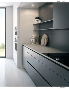 gray kitchen cabinets - why should I outfit a gray kitchen layout with gray cabinets, wall surface paint, flooring, wallpaper Modern Grey Kitchen, Gray And White Kitchen, Modern Kitchen Cabinets, Kitchen Cabinet Design, Interior Design Kitchen, Gray Cabinets, Gold Kitchen, Home Decor Kitchen, Home Kitchens