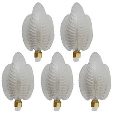5 Exquisite Venetian Leaf Sconces with Murano Glass Leaves Barovier and Toso Style