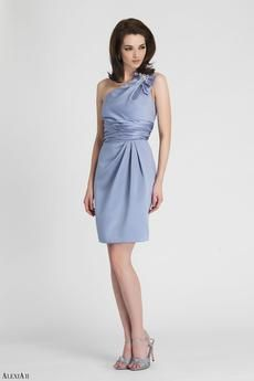Desert blue satin, cocktail length, pleated dress with bow and rhinetone detail at shoulder strap.