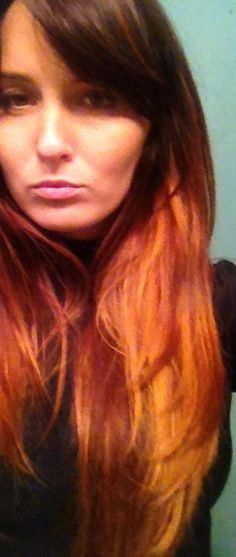 Ombré using reds and golds red hair highlight idea