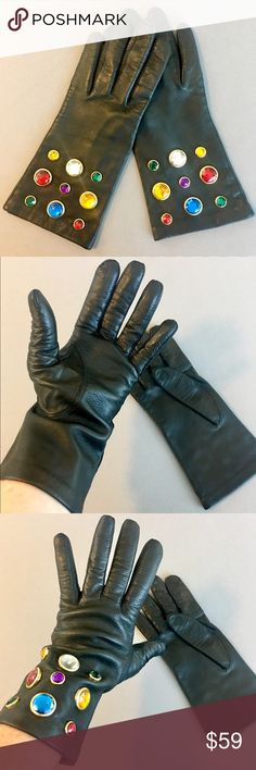 Vintage Carolina Amato jeweled blk leather gloves Excellent quality. Vintage 1980s--so gorgeous. Soft black leather with multicolored bezel set jewels on wide cuffs. Size 8. I don't believe these have ever been worn; in amazing condition. Carolina Amato Accessories Gloves & Mittens