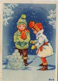 AK. :  Kinder bauen einen Schneekugelturm  , v. 1950,  Britt Lis , Kleinformat
