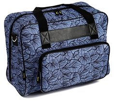Kenley Sewing Machine Tote Bag  Padded Storage Cover Carrying Case with Pockets and Handles  Universal Fit 18x10x13 inches for Janome Brother Singer  Midnight Flowers  Safe, stylish storage   Keep your sewing machine safe in the stylish Kenley Sewing Machine Bag. Protecting it from bumps and scratches is essential so this Kenley bag has high quality padding sandwiched between layers of durable material. The full zip makes it easy to get your sewing machine in and out. The side pocket..