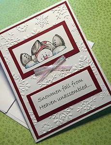 Handmade Sweet Holiday Christmas Snowmen Fall from Heaven Unassembled Card