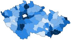 Mapka nafocení obcí dle okresů ČR aneb Modrá je dobrá :-)
