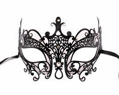 Exquisite Feline Inspired Black Metal Filigree with clear Swarovski Rhinestones Masquerade Ball Mask by Glamorousgala on Etsy, $25.00