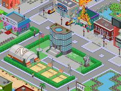 ziff - bistecca canora - arcade - cinema aztec - zingara indovina -sequel stop Springfield Simpsons, Springfield Tapped Out, Springfield Heights, The Simpsons Game, Isometric Design, Clash Of Clans, Galaxy Wallpaper, Baseball Field, Ea