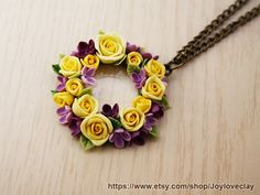 pendant necklace  antique jewelry  bronze polymer by Joyloveclay, $25.00