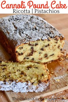 Cannoli Pound Cake is a moist and delicious recipe for classic ricotta pound cake using all of those cannoli flavors you love! Chopped pistachios, mini chocolate chips, orange zest, and ricotta cheese make this Italian pound cake truly a special recipe for any occasion. #ricottapoundcake #cannolipoundcake