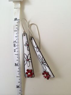 Long White Enamel Flower Earrings with red by KirstenDenbowDesigns