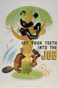 This is a poster that symbolizing that if we Canadians work hard, we can bring down Hitler and the Nazi's. The poster gets its point across in a comedic sense. It was used by the Canadian government during WW2 to get everyone working to help the soldiers. This is credible because it was on the Canadian War Museum's website.