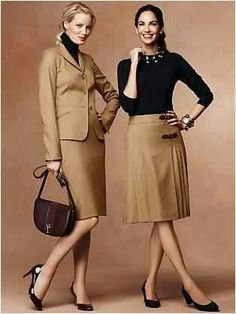 Love the outfit on the right. Black + camel