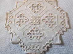 Hardanger Doily Norwegian Embroidery Ivory on Ivory | eBay