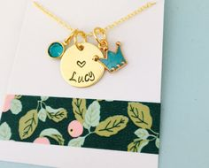 Little Girls Necklace Kids Name Necklace Crown by UniquelyImprint