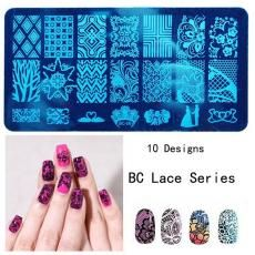 1PC 6*12cm Stainless Steel New Design DIY Nail Art Image Stamp Stamping Plates Manicure Template Lace Series 10PCS/SET  BC1-10