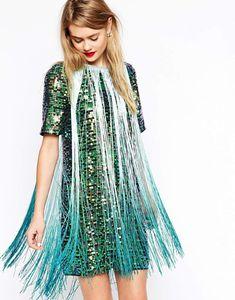 T-Shirt Sequin Fringe Dress, $142.13
