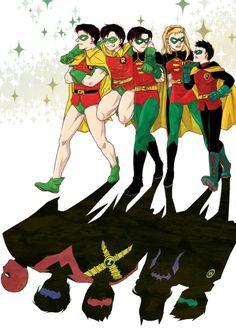 Robins Association by ~baveyoon. Jason Todd, Dick Grayson, Tim Drake, Stephanie Brown, and Damian Wayne.