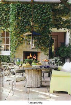 fireside dining outdoors, round dining table outside