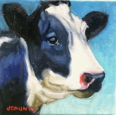 "KYLE BUCKLAND JENN COUNTS FARM ART  COW CATTLE   ANIMAL OIL PAINTING A DAY Impressionism Dairy Cow FINE ART WALL ART HOME OFFICE KITCHEN RESTAURANT DECOR ""Winslow"" 6""x6"""