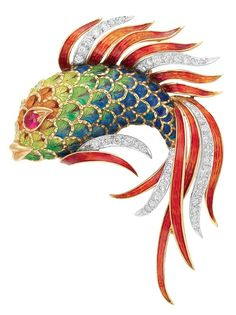 Gold, Enamel, Ruby and Diamond Fish Brooch 18 kt., 44 diamonds ap. 1.10 cts