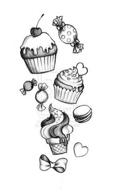 This going up my leg with more candy and goodyear or all my sisters names in it in fancy writing yes yes a million times yes Love Tattoos, Body Art Tattoos, Tattoo Arm, Sweet Tattoos, Tatoos, Eis Tattoo, Cute Drawings, Tattoo Drawings, Ice Cream Tattoo