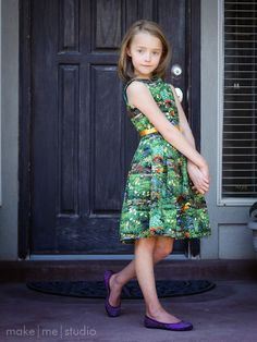 make|me|studio: Sewing  Made with Burda 9/2012 #152 Cap Sleeve Dress and Hobby Lobby landscape fabric.