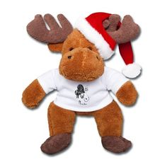 Süßer Weihnachtselch mit Herz-Design und Weihnachtsmütze zum Knuddeln. Tolles Geschenk zur Adventszeit, Nikolaus und Weihnachten.