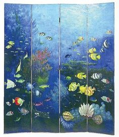 Hand Painted 72 in. Tall Coral Fish Cedar/Laquer Room Divider - 4 Panels