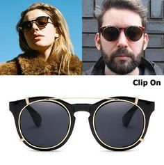 3194c3ac4c JackJad 2018 New Fashion Clip On SteamPunk Style Round Sunglasses Lens  Removable Brand Design Vintage Sun