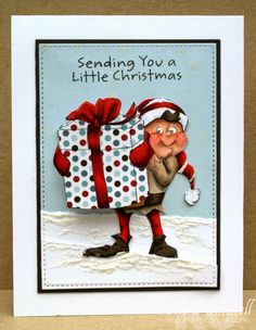 """""""Elf Shaker"""" stamp set by Art Impressions.  Ai Christmas wobble set.  Handmade card with snow."""