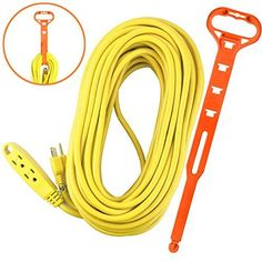 Aurum Cables 75 Feet 3 Outlet Extension Cord 14AWG IndoorOutdoor Use Yellow With Holder  UL Listed * Read more  at the image link.Note:It is affiliate link to Amazon.