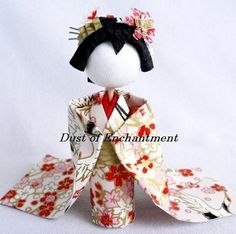 Make 2 3D Maiko Washi Ningyo Kit Japanese Kimono Pattern Geisha Paper Dolls DIY Origami Kokeshi English Instructions