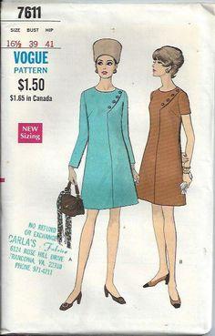 1960's Vogue 7611 Misses HalfSize OnePiece by DawnsDesignBoutique, $19.99