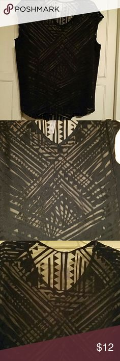 Black see through top See through black top with geometric design Pure Energy Tops Blouses