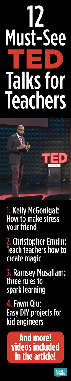 Must-See TED Talks for Teachers These videos changed the way I think about teaching.These videos changed the way I think about teaching. Teacher Tools, Teacher Hacks, Teacher Resources, Teacher Education, Science Education, Teacher Stuff, Teacher Gifts, Teaching Strategies, Teaching Tips