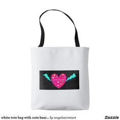 white tote bag with cute heart shape print