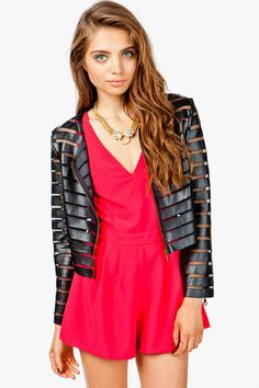 www.agacistore.com $39.50 A rad jacket with a PU and mesh slashed body. Zipper front closure.