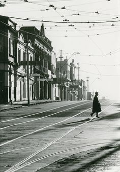Mark STRIZIC. Swan Street, Richmond at Church Street 1 1963, gelatin silver print, 35.5 x 24.7 cm. Monash Gallery of Art, City of Monash Collection donated by the Bowness Family through the Australian Government's Cultural Gifts Program 2008.