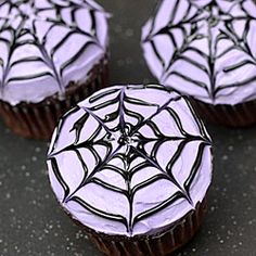 These spiderweb cupcakes would be a perfect addition to any Halloween party!